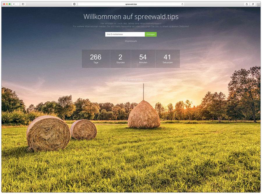 Website-Tapete auf Spreewald.tips Portal
