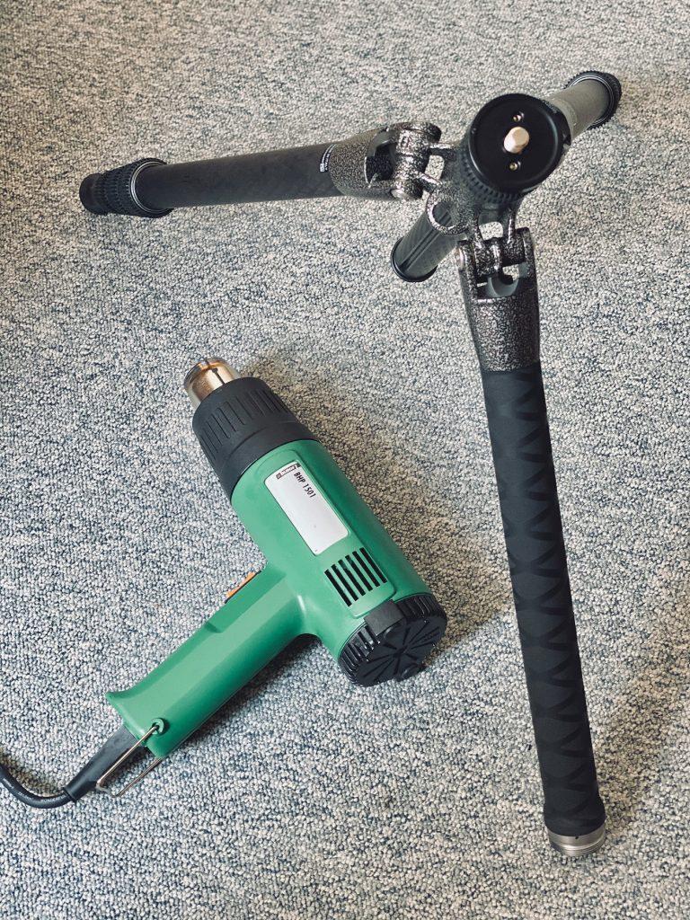 DIY-Schutz für Stativbeine aus Carbon - Handelsübliche Heißluftpistole